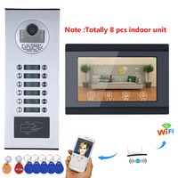 7inch Record Wired Wifi 8/9/10/11/12 Apartment/Family Video Door Phone Intercom System RFID IR CUT HD 1000TVL Camera with 12 but