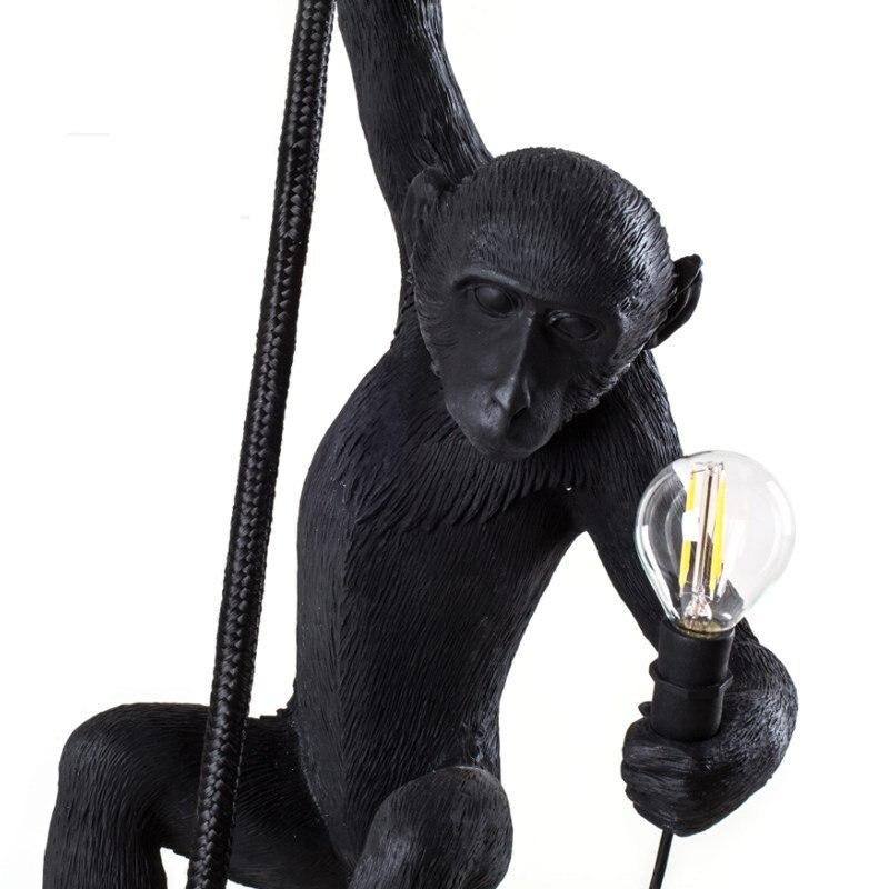 Lampe singe noir moderne résine corde de chanvre Seletti lampe singe blanc salon singe lumières en suspension suspension lampe E27 - 3