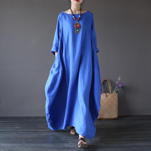5ed6869d0ce Johnature 2018 New Casual Dress Plus Size Women Clothes O-Neck Summer 5  Color Vintage Three Quarter Sleeve Robe Maxi Dresses 5XL