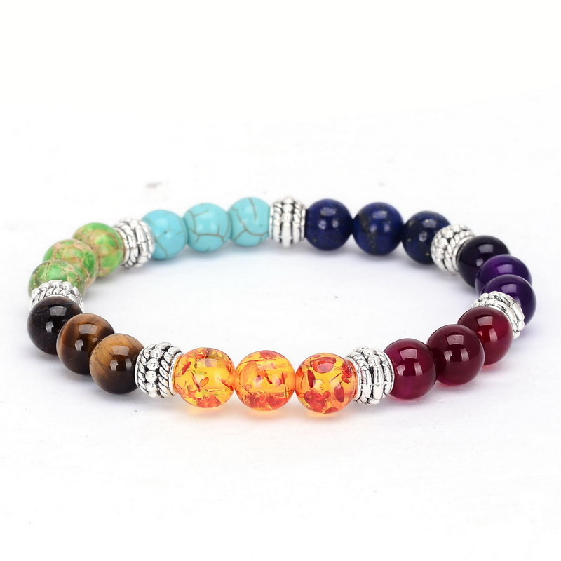 Drop Shipping 7 Chakra Natural Stone Bracelets Colors Mixed Healing Crystals Rainbow Chakra Pray Mala Bracelet Bangle Jewelry