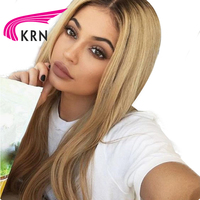 KRN Straight Full Lace Human Hair Wigs With Baby Hair Ombre Color Pre Plucked Brazilian Remy Hair Lace Wigs Natural Hairline