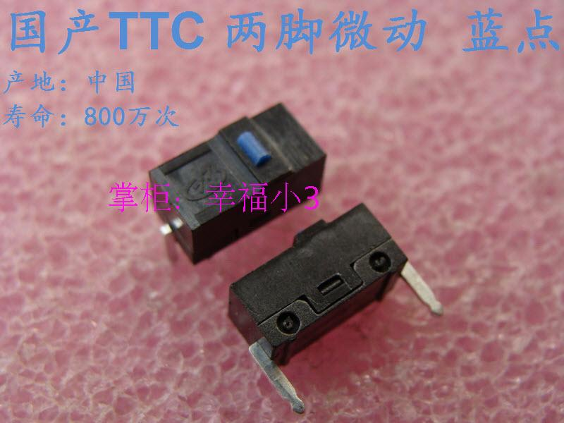 10pcs/lot 100% Original TTC Mouse Micro Switch Mouse Button Two Feet Life Of 8,000,000 Times Pitch 10mm Blue Dot