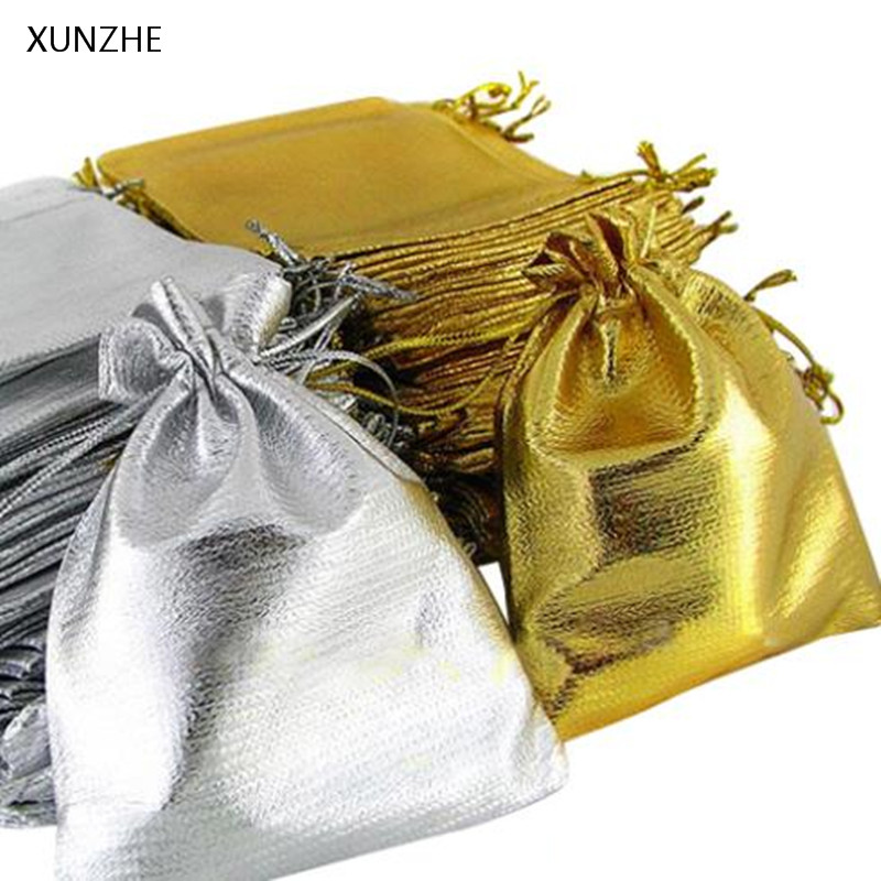 XUNZHE 10pcs Gold Silver Drawstring Storage Bag Wedding Birthday Gift Bunch Pocket Multi-function Jewelry Sundries Organizers