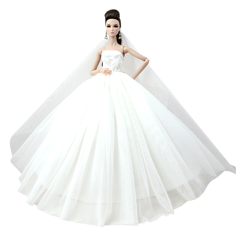 NK Doll Dress High Quality Handmade Long Tail Evening Gown Clothes Lace Wedding Dress +Veil For Barbie 1:6 Doll Best Gift 014A