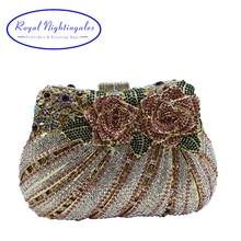 Bling Rose Clutch Purse Women Flower Rhinestone Crystal Evening Bag