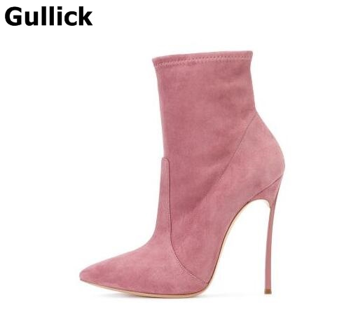 Gullick Elegant Solid color Ankle Boot Pointed Toe Slip-on Women Short Boot Metal Heels Party Dress Shoes Sexy Ankle Boots 2017 solid black winter spring women shoes slip on pointed toe spike high heels ankle boots women free ship size 9 12