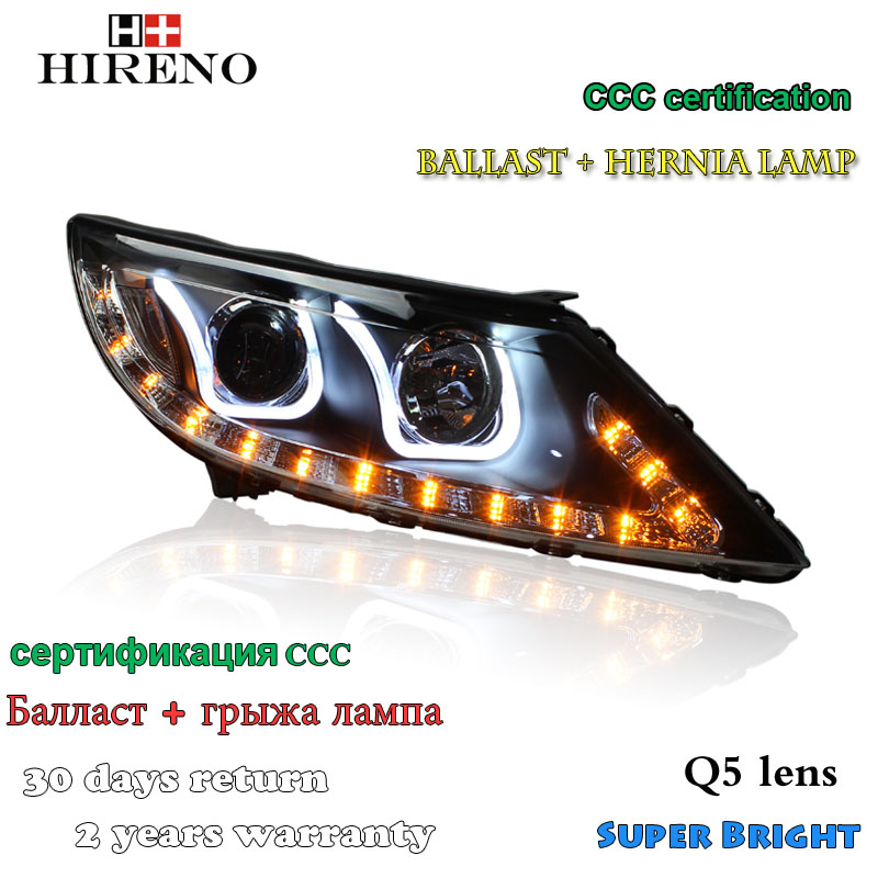 Hireno Headlamp for 2010-2012 KIA Sportage Headlight Assembly LED DRL Angel Lens Double Beam HID Xenon 2pcs 2pcs purple blue red green led demon eyes for bixenon projector lens hella5 q5 2 5inch and 3 0inch headlight angel devil demon