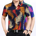 2016 New style man's summer fashion multicolor colors tropic leaves printed short sleeve shirt