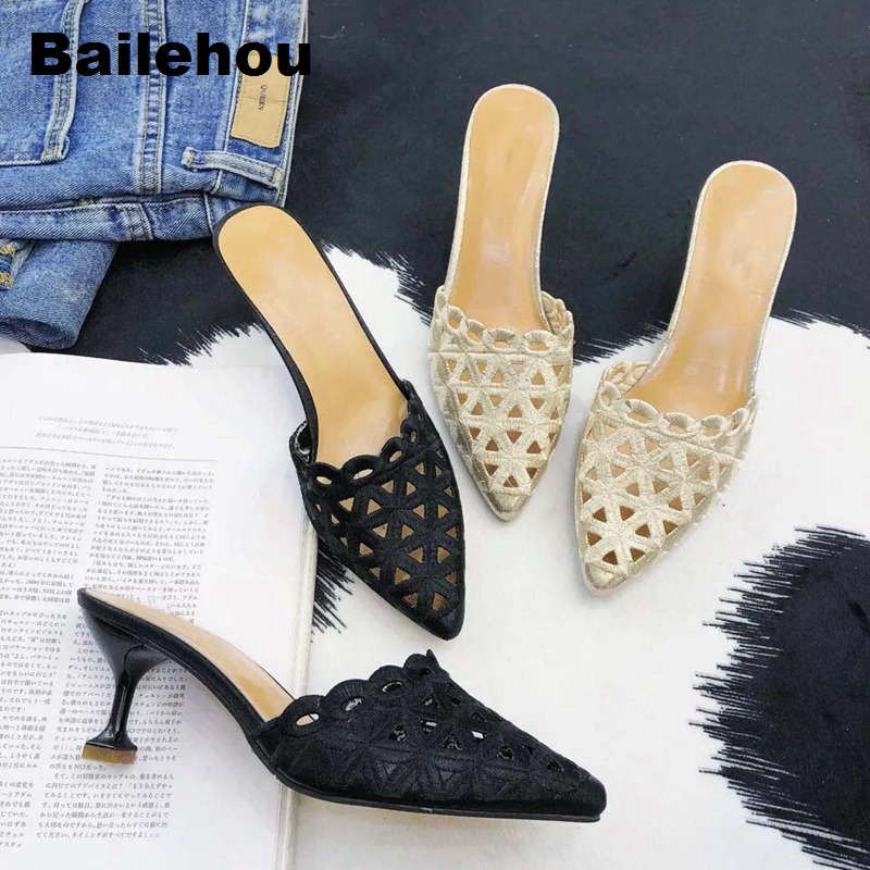 Bailehou Women Slippers Med Heel Women Sandals Slip On Slides Summer Mule Shoes Women Dress Shoes Zapatos Mujer Comfort Shoes