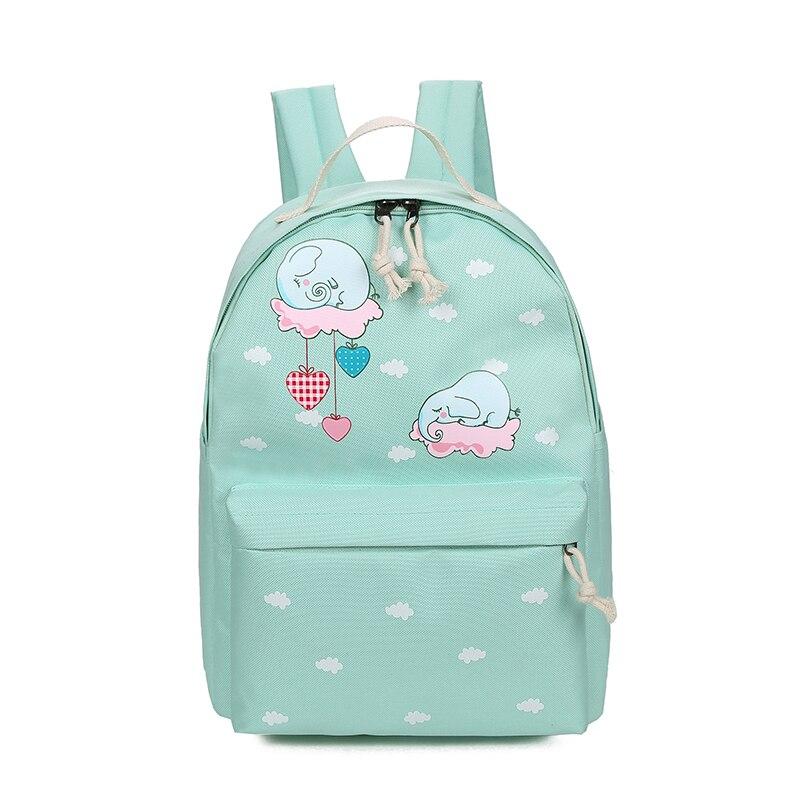 все цены на 2017 Women Canvas Backpack Cute Cloud Printing Backpacks Women's Travel Bags Mochila Rucksack Shoulder Bag онлайн