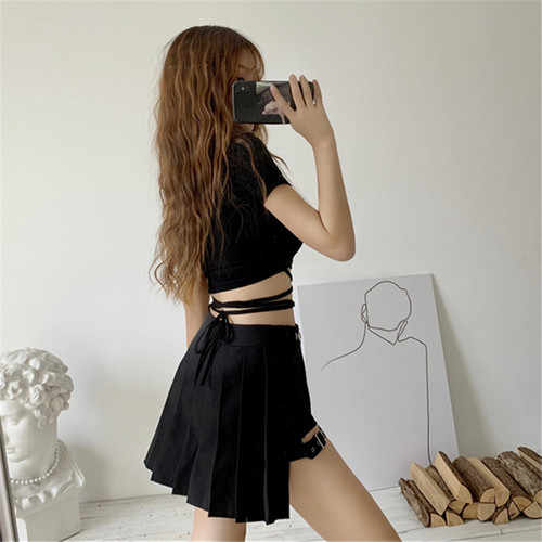 New Summer Gothic Women Suit Leg Ring Irregular Pleated Skirt Sexy Cross Straps Crop Tops Short Sleeve T Shirt Two Piece Set Dress Suits Aliexpress