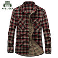 AFS JEEP 2016 Autumn men's casual brand red plaid long sleeve shirt man spring 100% pure cotton fashion green grid shirts A636