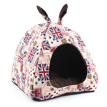 Pet Accessories Cross Printed Soft Dogs Houses Folded Square Line Wool Cat Sleeping Mats Warm Winter Cute Pet Sofas