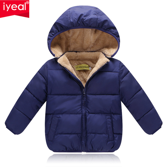 c87a49e970db IYEAL Kids Winter Jackets 2018 New Solid Hooded Baby Girls Boys ...