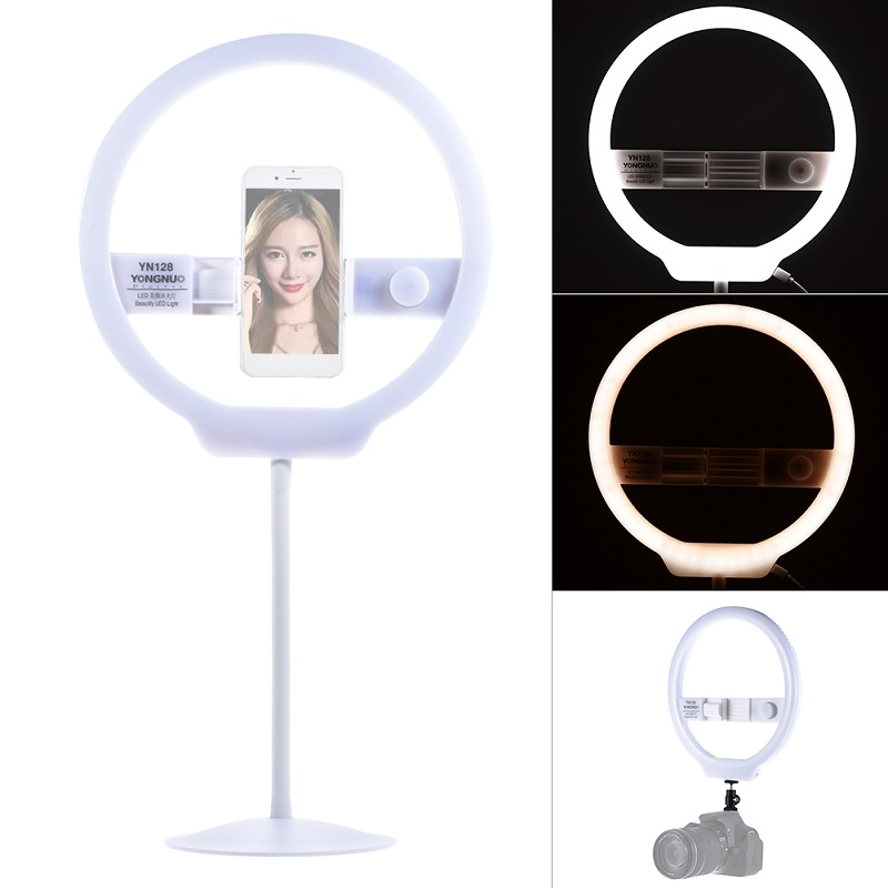 YONGNUO YN128 Ring Light Camera Photo/Studio/Phone/Video 128 LED 3200K-5500K Photography Dimmable Ring Lamp yongnuo yn128 camera photo studio phone video 128 led ring light 3200k 5500k photography dimmable ring lamp for iphone 7 7 plus