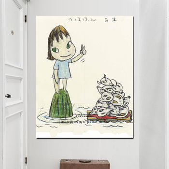 Canvas Art Pictures Yoshitomo Nara HD Print Comics Sleepwalking Doll Drawing Japanese Painting Poster For Baby Kids Room Decor image