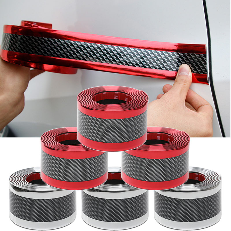 Image 5 - Car Styling 5D Carbon Fiber Rubber Protector Door Sill Car Sticker Auto Styling Car Bumper Strip Protectors Exterior Accessories-in Car Stickers from Automobiles & Motorcycles