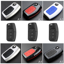 OkeyTech For Ford Fiesta Focus 2 Ecosport Kuga Escape Auto Key Case Keychain Accessories 3 Buttons Flip Folding Remote
