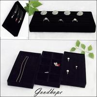 Portable Black Velvet Jewelry Display Tray Ring Bracelet Necklace Earring Storage Box Carring Case Diy Organizer