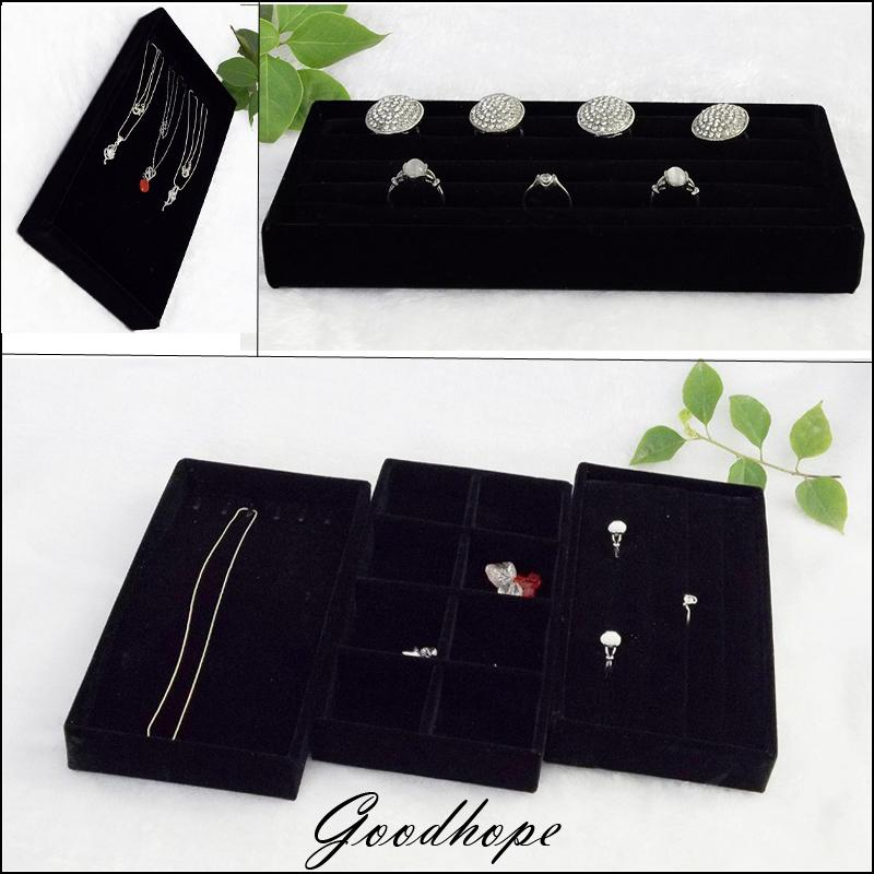 Portable Black Velvet Jewelry Display Tray Ring Bracelet Necklace