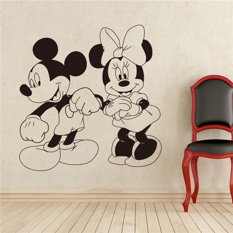 Mickey Mouse and Minnie Mouse Cartoon Characters Dancing Wall Sticker Cartoons home decoration Childrens Nursery #T310