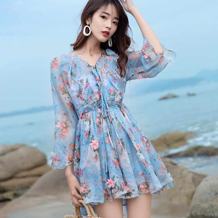 Blue Flower print mini dress 2019 women Summer Chiffon Ruffles Sexy V Neck Beach dress vestidos