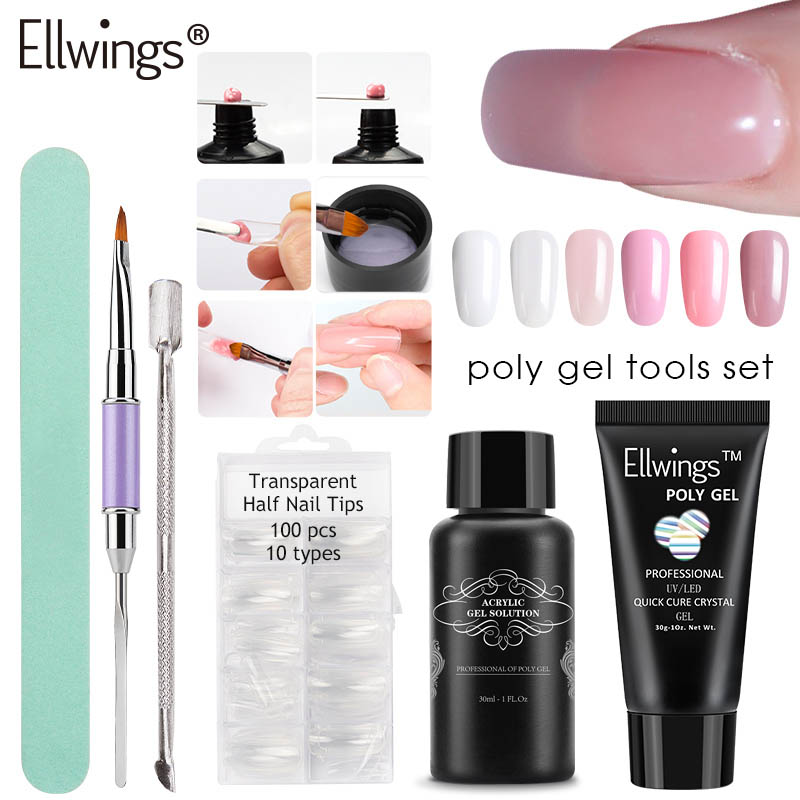 Ellwings  6 Colors Poly Gel Set Nail Builder Gel Hard Jelly Polygel Quick Nail Extension Camouflage UV LED Poly Gel Kits