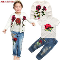 AiLe Rabbit 2017 Autumn Newest Girls Clothes Suit Jacket T Shirt Jeans 3 Pcs Set Fashion