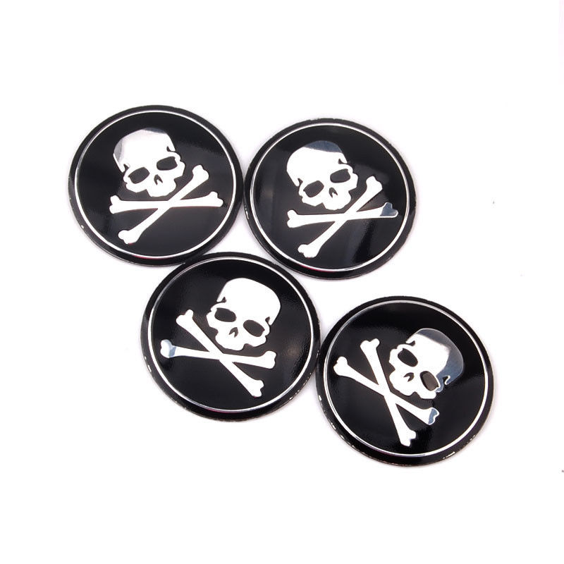 BBQ@FUKA 4Pcs 56mm Car Cross Bone Skull Emblem Badge Tyre Tire Wheel Center Hub Caps Car-Covers Stickers Fit For Audi A4 2017