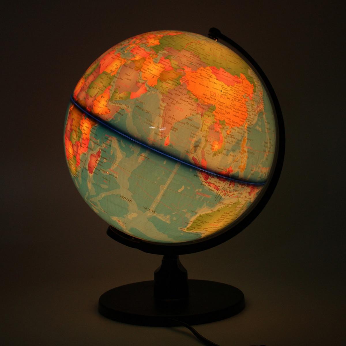 Globo terrestre, mapa del mundo, luz LED, juguete educativo de geografía con soporte, decoración del hogar, adorno de oficina, regalo para niños