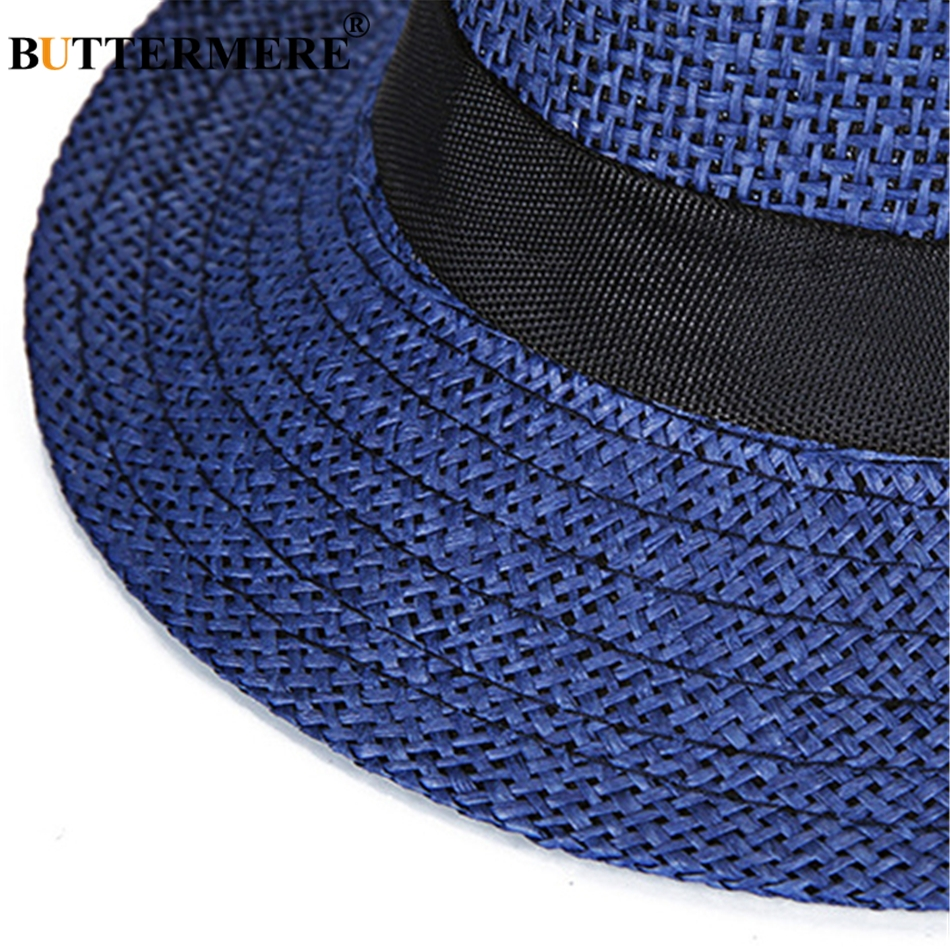 de949fd6b58ae8 BUTTERMERE Straw Fedora Hats Mens Navy Blue Vintage Summer Beach Hat Ladies  Casual England Style Designer Classic Jazz Hats-in Sun Hats from Apparel ...