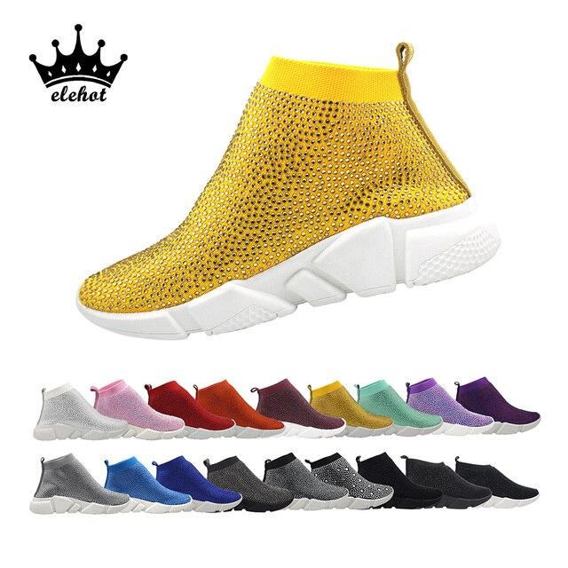 Bling Giày Kim Cương Giả Giày Pha Lê Tất Giày nữ Vulcanize Giày Sang Trọng Cổ Người Phụ Nữ 2019 Dropshipping Nữ Giày Sneaker