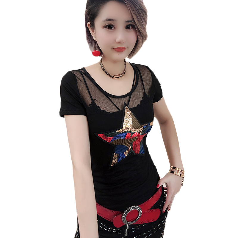 Sexy Mesh Pullover Tshirt Sequined Star 2019 Summer Women Short Sleeve Hollow Out Slim Top Shirt Clothes Camiseta Mujer T93729