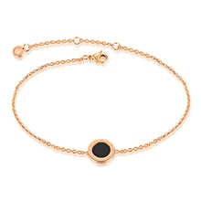 La nueva edición de la moda Europea cadena de pie negro pastel redondo de acero de titanio negro GZ038 rosa joyas de oro