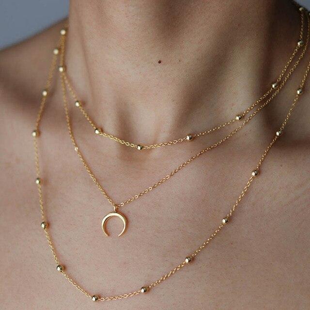 4cd6222719cf KBJW moda Hot Crescent Luna colgante capas collar con cuentas cadena Metal  oro plateado gargantilla