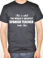 Tee Shirt Shop Short Sleeve Printing Machine O-Neck Mens Worlds Greatest Spanish Teacher Spain Fun T Shirts