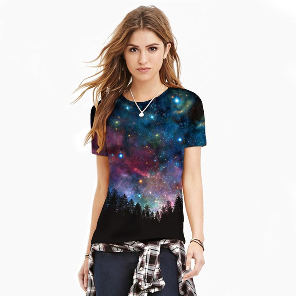 HTB1bF29QXXXXXaGXXXXq6xXFXXX2 - T-shirt blue sky digital print 3D short-sleeved women's shirt