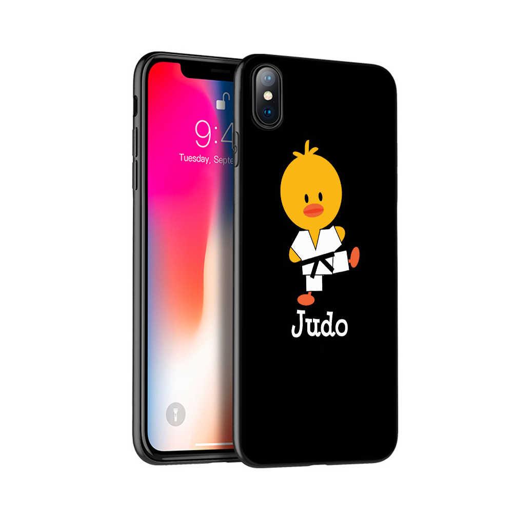 Preto tpu case para iphone 5 5s se 6 6s 7 8 plus x caso capa de silicone para iphone caso MAX XR XS 10 japão desporto judô