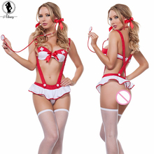 2017 Sexy lingerie hot mulheres red bow bra + saia Com Babados SM cosplay erótico lenceria Sexy uniforme Da Enfermeira lingerie sexy trajes