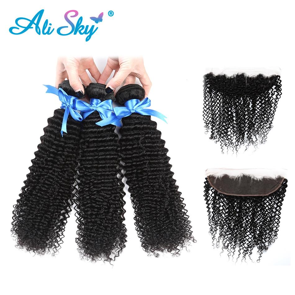Mongolian Afro Kinky Curly Human Hair Bundles With Frontal Closure Hair Weave 3 Bundles with 13x4 Lace Frontal Closure Non Remy