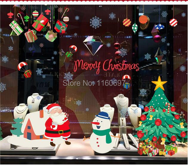 adornos navidad 2016 diy merry christmas new year christmas tree decorations posters 1pcs halloween christmas window - Halloween Christmas Decorations