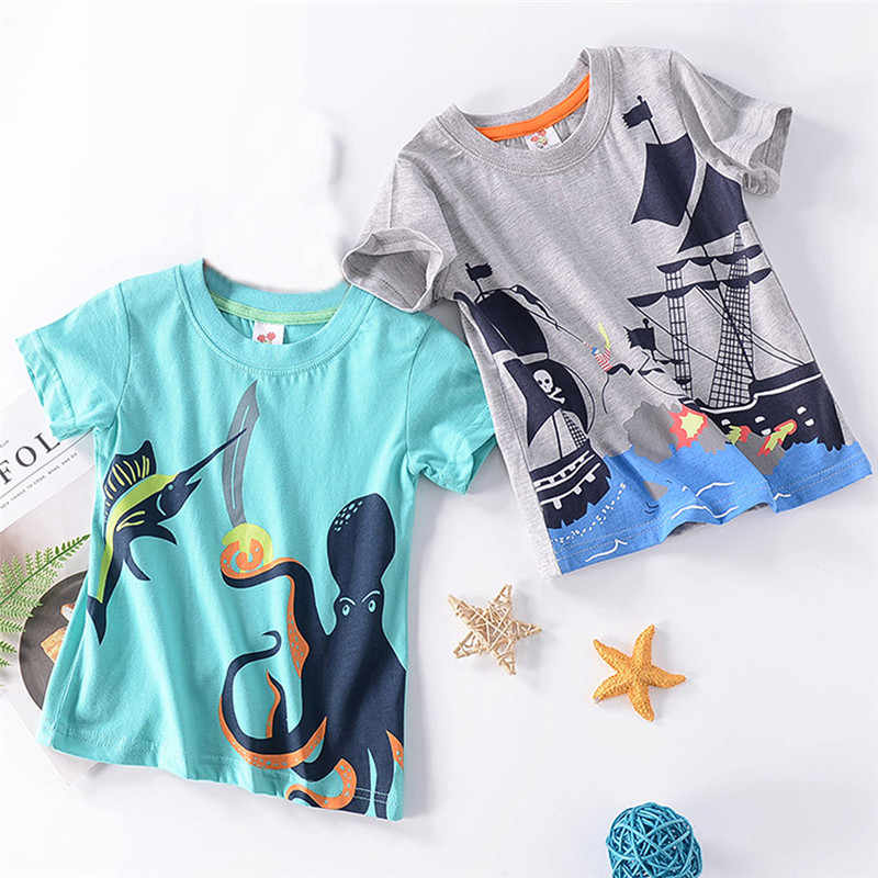 Telotuny 100%Cotton Top Shirt Children's Short Sleeve Cartoon Norwegian Sea Monster The Black Pearl Print Shirt Boys Shirt