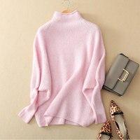 100% Pure кашемировый свитер Топы Осенне зимняя Дамская обувь свободные свитера водолазка Одежда с длинным рукавом теплый Джемпер трикотажный