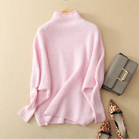 100% Pure Cashmere Sweater Tops Women Autumn Winter Loose Sweaters Turtleneck Long Sleeves Warm Jumper Knitted Pullover Sweater