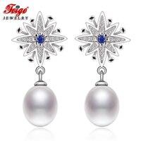 FEIGE 925 Silver Stud Earrings 8 9mm White Natural Freshwater Pearl Earrings for Women Fine Jewelry La moda Pendientes Perla