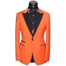 Man Suit For Wedding Tuxedo 2017 Latest Coat Pants Vest Dress Suits Set Slim Fit Groom Evening Party Costume White Orange Gold