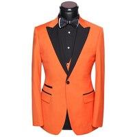 Uomo Vestito Per La Cerimonia Nuziale Smoking 2017 Ultime Coat Pants Vest Dress abiti Set Slim Fit Sposo Sera Festa in Costume Bianco Arancio Oro
