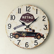 2016 New Arrival Retro Classic Nostalgic Decorative Wall Clock Mute Solid Wood Hotel Restaurant Ornaments 0002B9