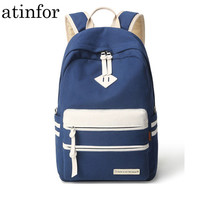 atinfor Brand Solid Korean Women Backpack Canvas School Bag for Teenage Girls Students Back Pack Fringe Lady Daily Rucksack
