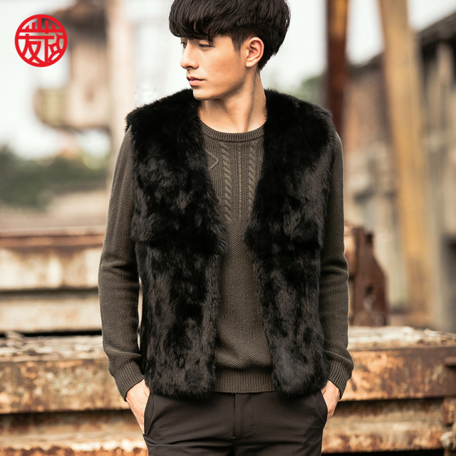 VR062 hombres genuino real de piel de conejo real chaleco de piel de invierno caliente chaqueta/chaquetas